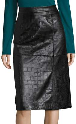HUGO BOSS Women's Seminca Croc-Embossed Leather Skirt