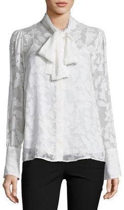 MICHAEL Michael Kors Tie-Neck Foliage Jacquard Lace Blouse $155 thestylecure.com