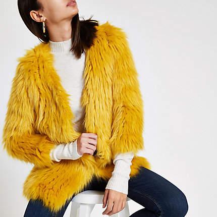 Womens Yellow faux fur knit coat