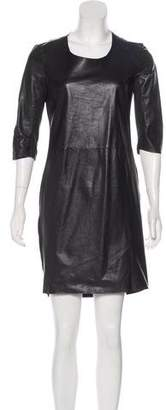 Raquel Allegra Leather Colorblock Dress
