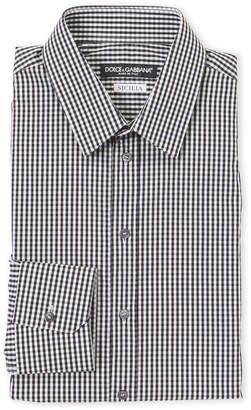 Dolce & Gabbana Black Sicilia Fit Check Dress Shirt