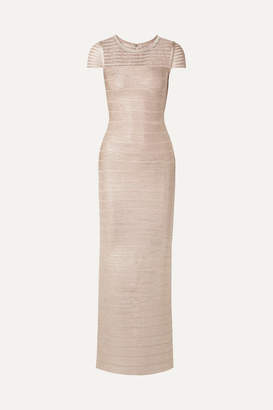 Herve Leger Tulle-trimmed Metallic Bandage Gown