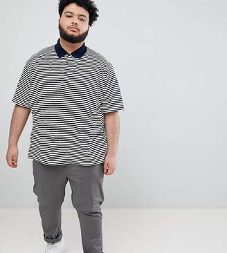 Jacamo Plus Polo In Feeder Stripe
