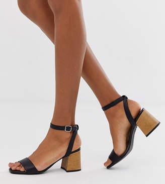 New Look wooden heeled sandal in black