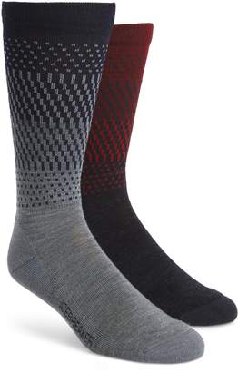 Icebreaker Lifestyle Ombre Stripe 2-Pack Merino Wool Blend Light Crew Socks