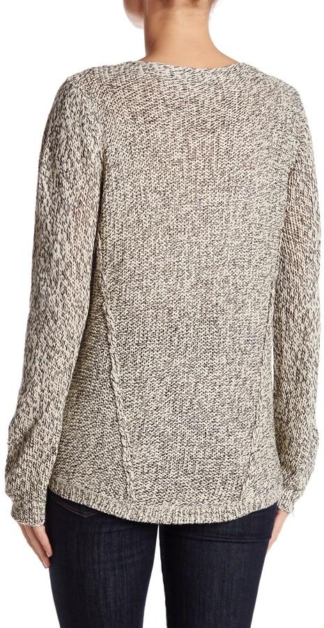 RESEARCH & DESIGN Scoop Neck Mixed Stitch Hi-Lo Sweater (Petite) 3