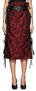Noir Kei Ninomiya WOMEN'S FLORAL JACQUARD BELTED KNEE-LENGTH SKIRT-RED SIZE XS