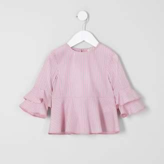 River Island Mini girls Pink stripe tiered sleeve top