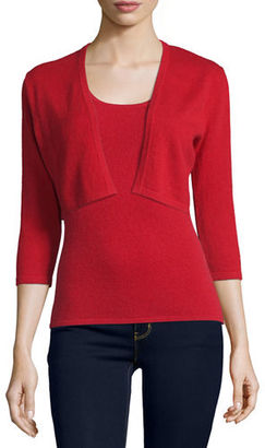 Neiman Marcus Cashmere Collection 3/4-Sleeve Modern Cashmere Shrug $136 thestylecure.com