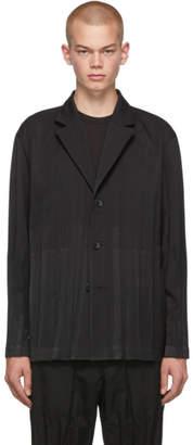 Issey Miyake Black Wool Wrinkle 3-Button Blazer