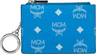 MCM Key Pouch In White Logo Visetos