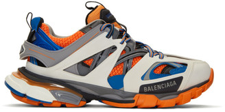 Balenciaga Grey and Orange Track Sneakers