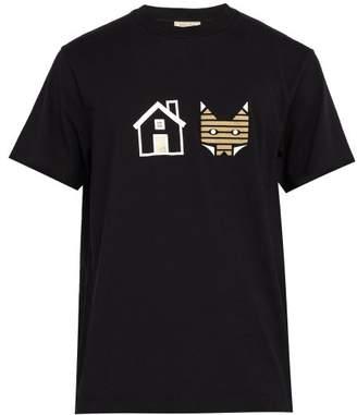 MAISON KITSUNÉ Rebus Logo Printed Cotton T Shirt - Mens - Black