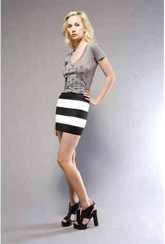 Pleasure Doing Business Striped Five Banded Skirt -