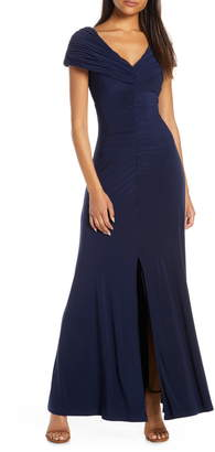 Vince Camuto Portrait Collar Ruched Evening Gown