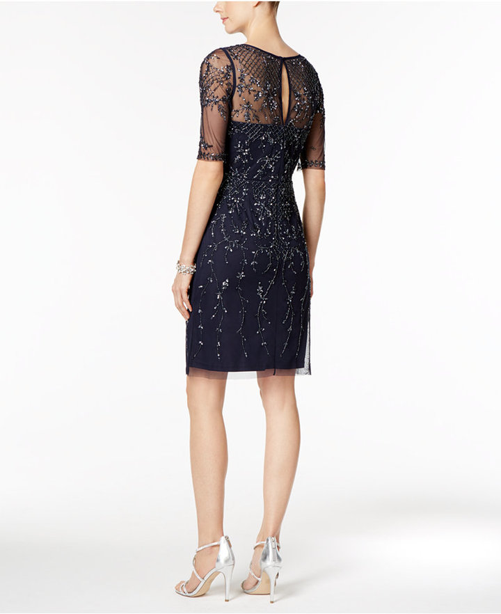 Adrianna Papell Short-Sleeve Beaded Dress 2