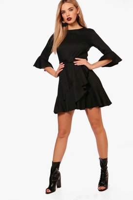 boohoo Ruffle Detail Belted Skater Dress