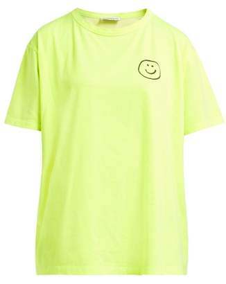Vika Gazinskaya Smiley Face Print Cotton Jersey T Shirt - Womens - Yellow
