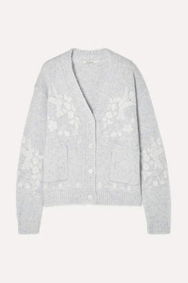 Mes Demoiselles Botanic Embroidered Wool-blend Cardigan - Sky blue