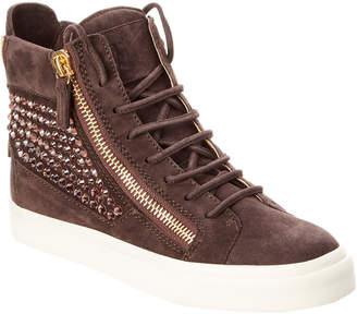Giuseppe Zanotti Embellished Suede High-Top Sneaker