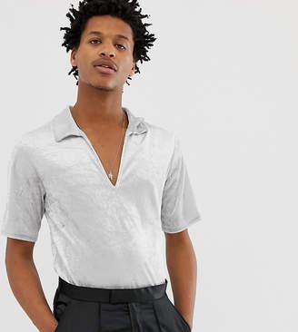 Reclaimed Vintage Inspired short sleeve velvet overhead shirt