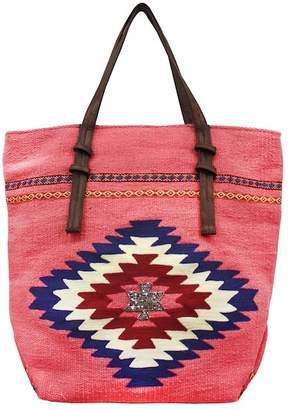 AMERICA & BEYOND Embellished Pink Dhurrie Bag