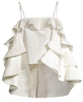 Opening Ceremony Women's Tiered Pleated High-Low Camisole Top - Ecru - Size XS