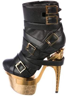 Versace Leather Platform Boots
