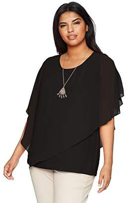 Amy Byer Women's Plus Size Split Sleeve Popover Top