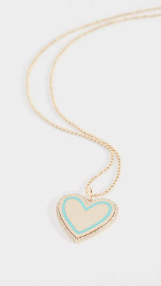 Ef Collection 14k Diamond & Enamel Heart Necklace