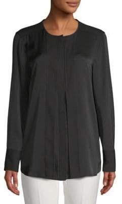 Donna Karan Pleated Long-Sleeve Top