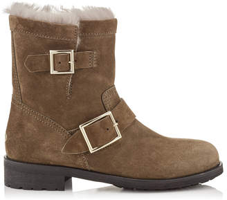 Jimmy Choo YOUTH Mink Suede Biker Boots with Rabbit Fur Lining