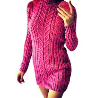 Kikoy womens dresses Sweater Knitted Dress,KIKOY Womens Cotton Striped Long Sleeve Bodycon Mini Dress