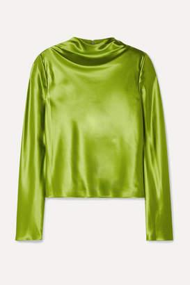 Brandon Maxwell Silk-charmeuse Top - Leaf green