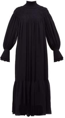Chloé Ribbed Neck Silk Georgette Dress - Womens - Dark Navy