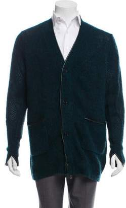 3.1 Phillip Lim Mélange Faux Leather-Trimmed Cardigan teal Mélange Faux Leather-Trimmed Cardigan