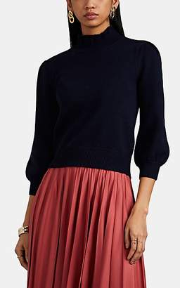 Co Women's Merino Wool Ruffled Mock-Turtleneck Crop Sweater - Navy