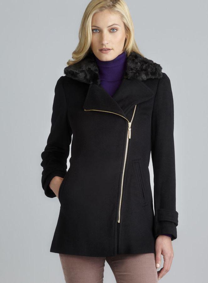 Ellen Tracy Faux Fur Collar Asymmetrical Zip Two Pocket Coat