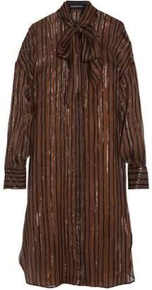 By Malene Birger Metallic Fil Coupé Silk-Blend Chiffon Shirt Dress