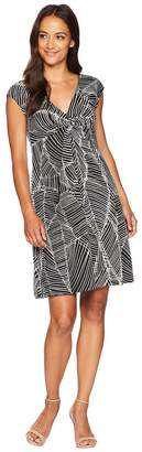 London Times Cap Sleeve Wrap Front Fit Flare Women's Dress