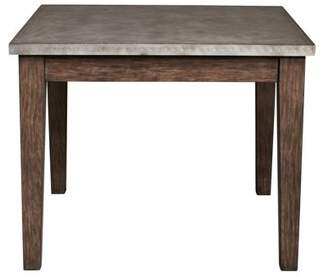 HomeFare Vintage Industrial Style Metal Wrapped Dining Table in Distressed Chocolate