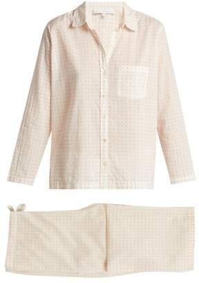 Pour Les Femmes - Polka Dot Print Cotton Pyjamas - Womens - Pink White