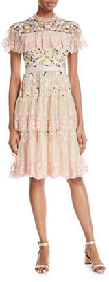 Needle & Thread Tiered Anglais Embroidered Tulle Cocktail Dress with Sequins