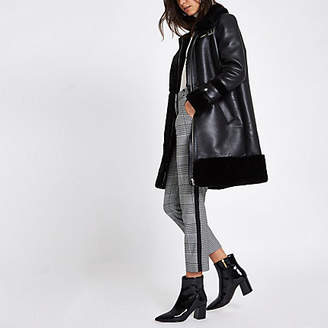 River Island Black faux leather oversized aviator jacket
