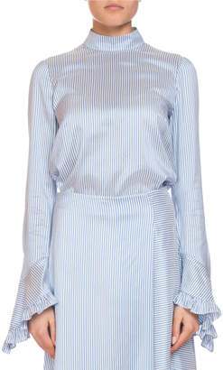 Erdem Lindsey Striped Mock-Neck Ruffle-Sleeve Top