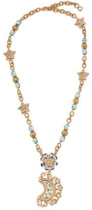 Dolce & Gabbana Moon And Star Crystal Embellished Necklace - Womens - Gold