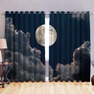 LOFT 25 Moonlight 3D Print Blackout Fabric Eyelet Curtains 52X 54