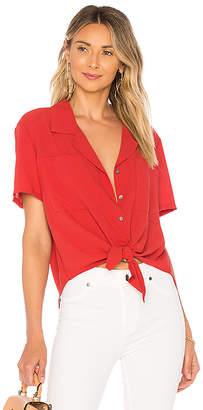 1 STATE SS Tie Front Button Down Blouse