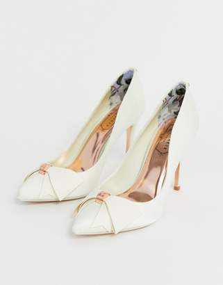 Ted Baker ivory satin bow detail heeled pumps