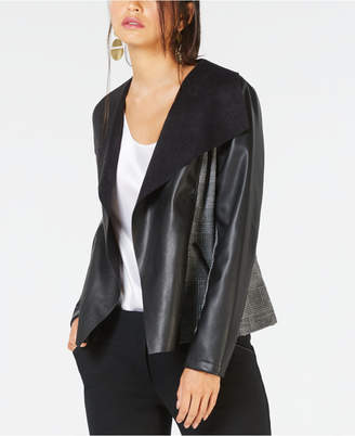 Alfani Faux-Leather Draped Side-Panel Jacket